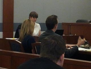 Noel Lardeo sits next to her defense attorney during Wednesday's preliminary hearing for a Feb. 5 DUI wreck. (Jason Valle/FOX5)