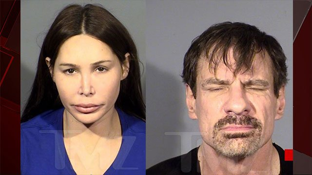 Ashley Fargo, left, and Henry Nicholas III, right, were jailed for drug trafficking charges at the Encore Las Vegas (Picture: TMZ/ FOX5)