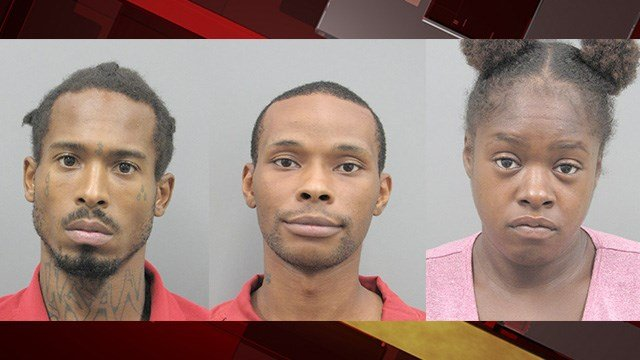 Anthony Barr (left), Damien Phillips (center) and Sabrina Henderson were arrested in connection to several robberies. (Henderson Police)