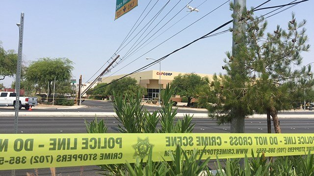 Downed power lines near Sunset Rd and Valley View Blvd caused a power outage that effected several hundred people on Aug. 10, 2018. (Adam Herberts/FOX5)