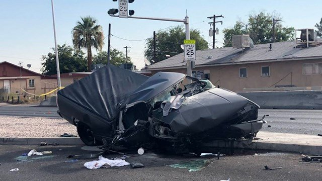 One person was killed in a single-vehicle crash near central Las Vegas on Aug. 12, 2018. (Photo: NHP)