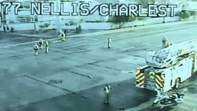 A pedestrian was hit and killed at Nellis and Charleston Boulevards Monday evening, according to Las Vegas Metropolitan Police. (FastCam)
