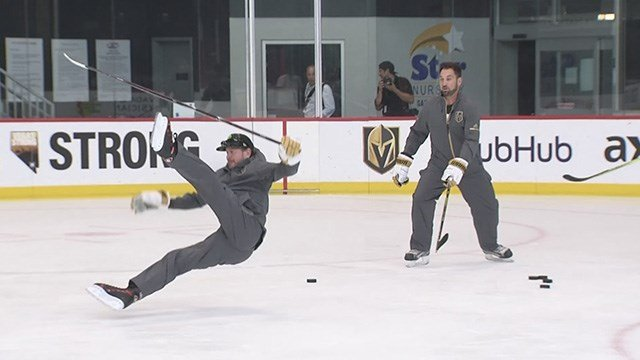 Deryk Engelland and Kurt Busch traded lessons with each other on hockey and racing. (Robbie Hunt / FOX5)