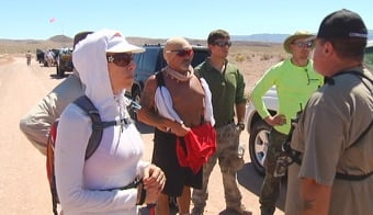 Volunteers gather before starting their search for Keith Goldberg