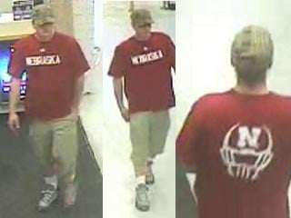 Police said a man in a red t-shirt robbed a north end business on May 4. (LVMPD)