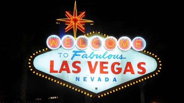 The iconic welcome sign along the Las Vegas strip is seen at night in this undated photograph. (File/FOX5)