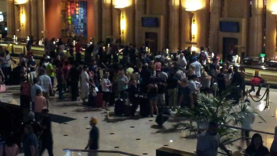 A crowd of hotel guests reportedly waited for hours early Friday morning. (Armando Navarro/FOX5)