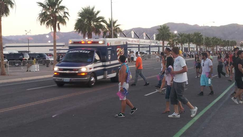 An ambulance rushes to an incident near the Las Vegas Motor Speedway on June 11. (Peter Dawson/FOX5)