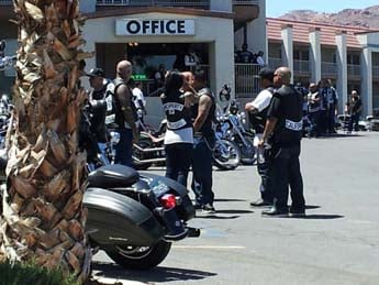 Members of the Mongols motorcycle club gather in Boulder City. (Jason Valle/FOX5)