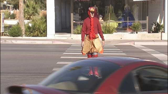 Person dresses as turkey on a Las Vegas road. (File/FOX5)