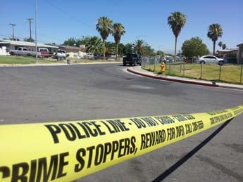 One person is confirmed dead in a shooting near Mountain Vista and Vegas Valley. (Christian Cazares/FOX5)