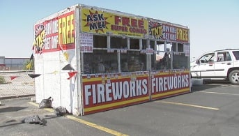 The Savelio Project fireworks stand is located on Las Vegas Blvd. and Windmill