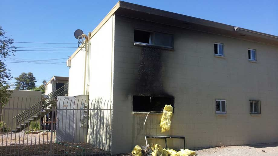 A window was smashed open at an apartment east of the Las Vegas Strip. (Armando Navarro/FOX5)