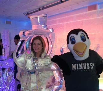 Elizabeth is joined by a Minus 5 penguin.