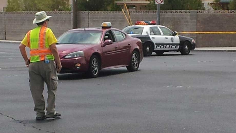 Police tape off a section of Ann Road while officers searched for two chimpanzees. (Justin Grant/FOX5)