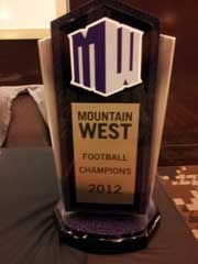 The Mountain West football title was on hand at media day, just a reminder of what the teams are playing for this season. (Robbie Hunt/FOX5)
