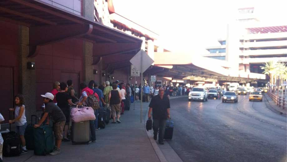 A Southwest passenger said she waited an hour the get through a check-in line at McCarran Thursday. (Photo by Ashley Diller)