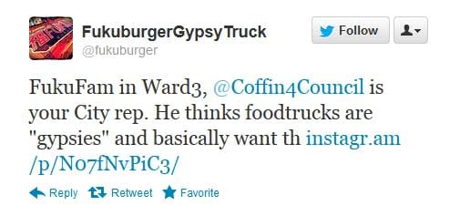 "Las Vegas food truck Fukuburger took a council member's ""gypsy"" comments to heart. It is now calling for that councilman's ouster. (Twitter: @fukuburger)"