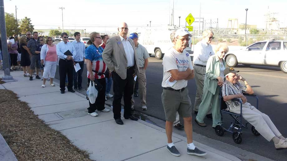 Mitt Romney supporters wait outside a North Las Vegas business before Friday's speech. (Stefanie Jay/FOX5)