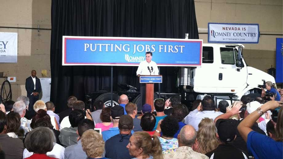 The former Mass. governor talked down Obama's efforts of lowering unemployment during Friday's speech. (Stefanie Jay/FOX5)