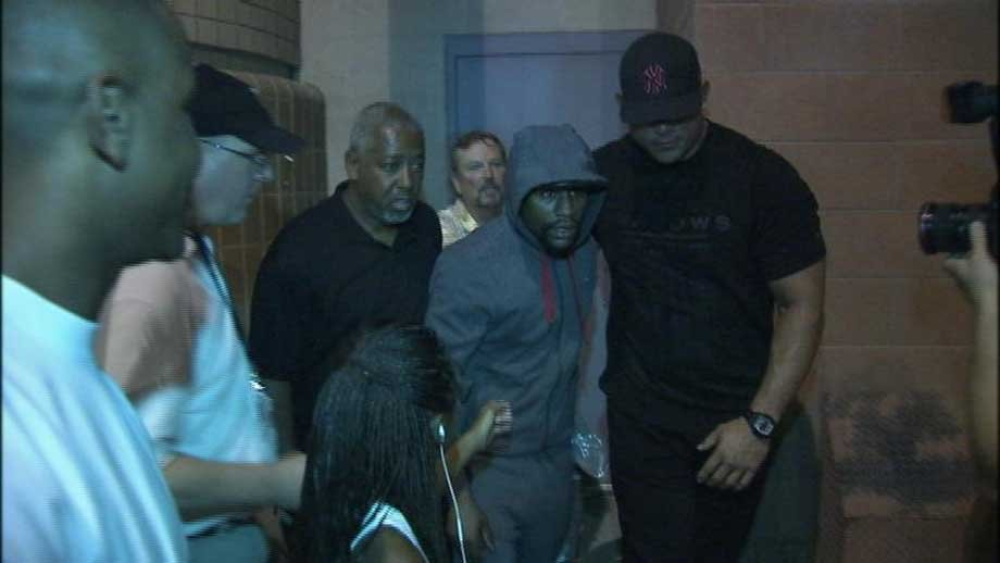 A hooded Floyd Mayweather was released from the Clark County Detention Center after spending 63 days in jail.