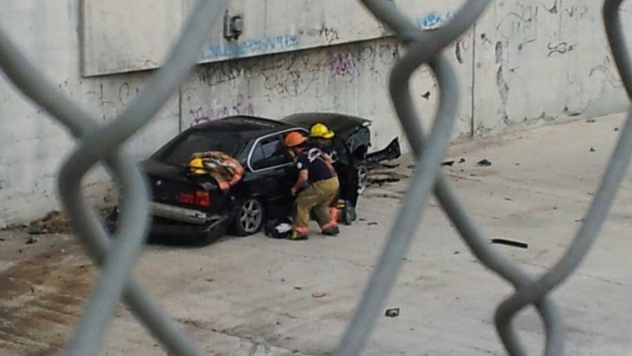 Clark County Fire Department helped rescue a woman from a car in a wash near Interstate 15. (Joe Lybarger/FOX5)