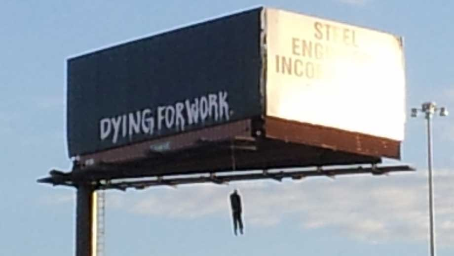 The billboard with the hanging mannequin was seen by motorists on Interstate 15. (Peter Dawson/FOX5)