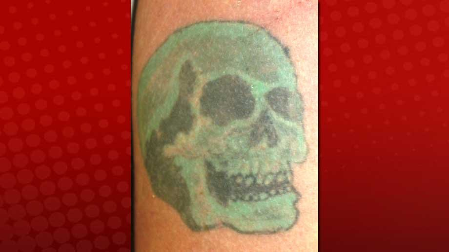 Police said the victim in the Aug. 17 slaying had a distinctive green skull tattoo. (LVMPD)