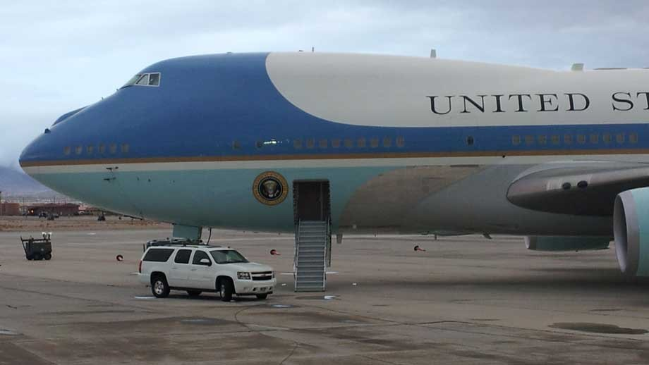 Air Force One sat on the tarmac as President Obama stayed in the Las Vegas-area overnight. (Armando Navarro/FOX5)