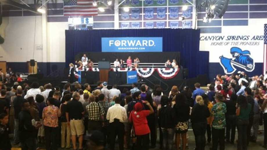 The Canyon Springs High School gymnasium is slated to host President Obama's speech. (Stefanie Jay/FOX5)