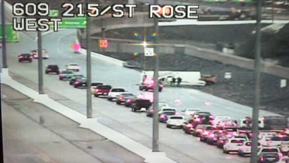 FAST Cam captured the overturn on Interstate 215 Wednesday.