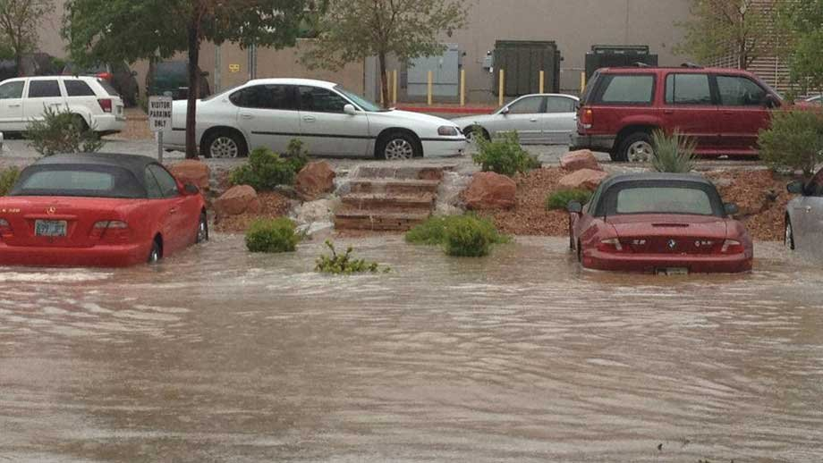 Cars at Touro University's parking lot experienced some of the worst flooding in the area Wednesday. (Pic submitted by Javier Tamez)