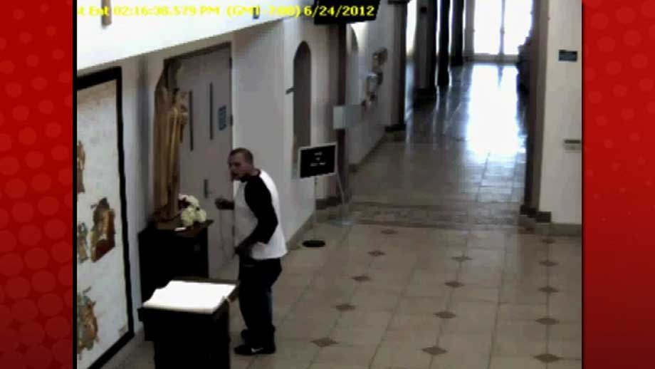 Surveillance video shows a man attempting to steal a donation box at a church. (NLVPD)