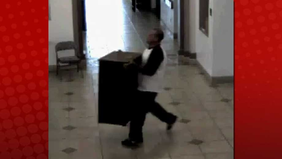A 3-foot tall box was taken as part of the incident on June 24. (NLVPD/YouTube)