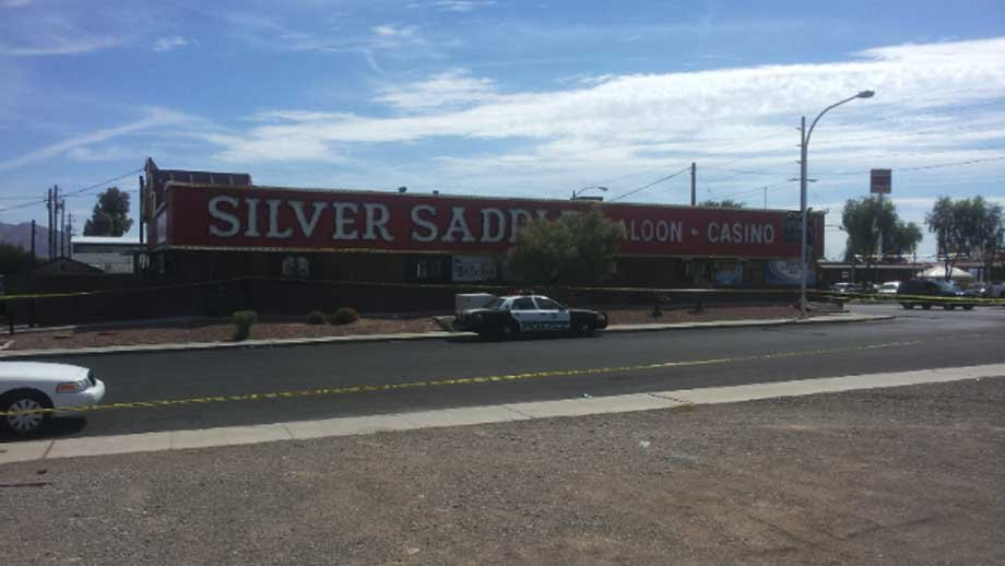Police tape surrounded the Silver Saddle Saloon and Casino on Monday. (Les Krifaton/FOX5)