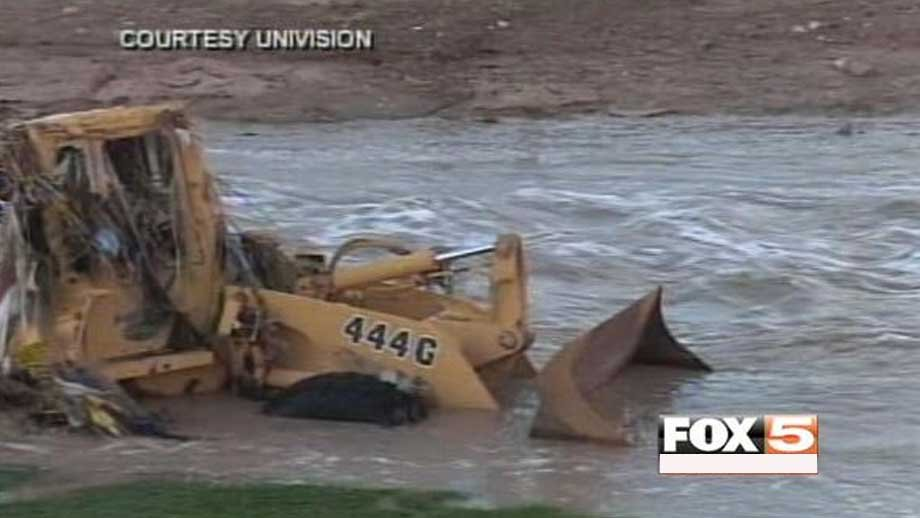 The backhoe Calletano Lopez was operating before he went missing. (Photo from Univision)