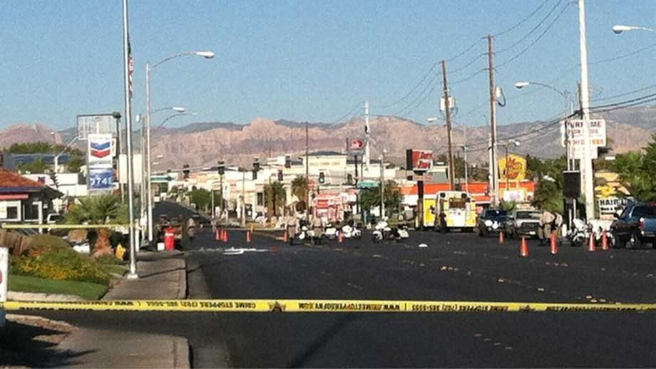 Spring Mountain Road was shut down following the deadly wreck on Sept. 13, 2012. (Stefanie Jay/FOX5)