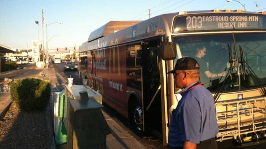 Buses returned to pick up passengers waiting at a temporary spot. A day before, a permanent stop was destroyed when a car slammed into it. (Stefanie Jay/FOX5))