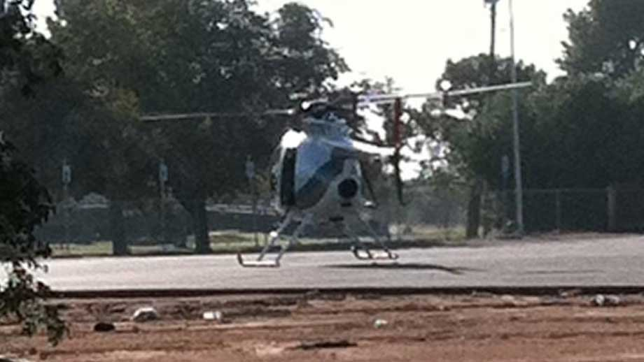 A search and rescue helicopter arrived Wed. morning to help search for Lopez. (Photo from Stefanie Jay/FOX5)