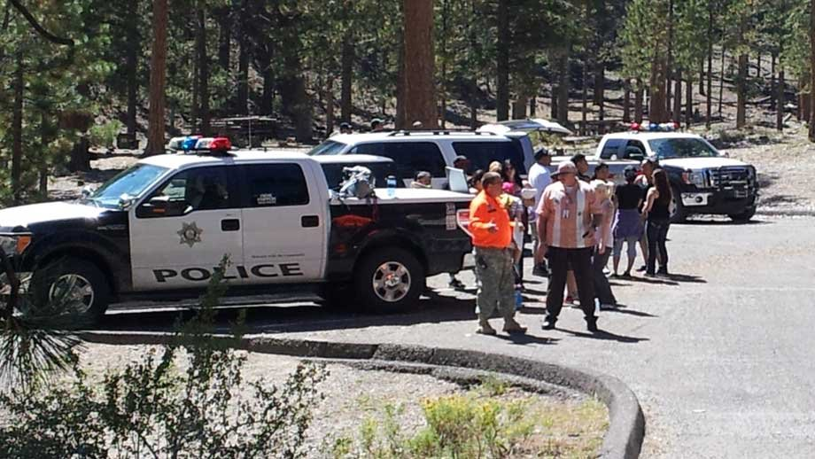 Some crew members searched from the ground at Mt. Charleston. (Joe Lybarger/FOX5)