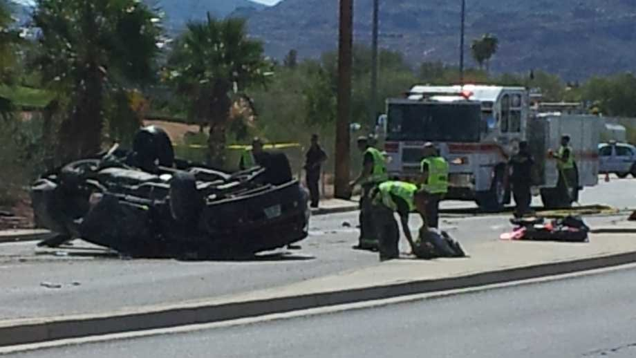 The rollover and fire was reported on Greenway and Fairway roads. (Doug Johnson/FOX5)