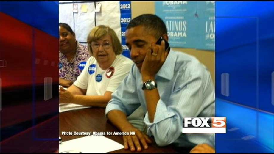 President Obama visited volunteers at the Henderson campaign headquarters. (Obama for America NV)