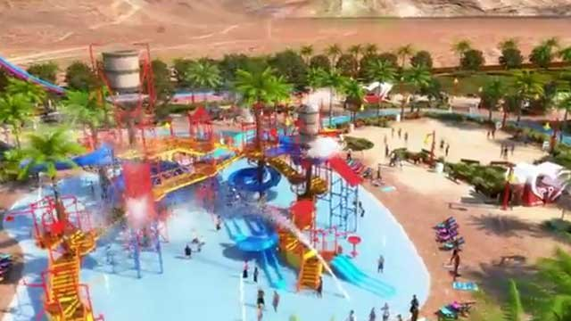 A YouTube video showed a composite rendering of the water park and the new &quot;Wet 'n' Wild. (YouTube.com/WetnWildLasVegas)