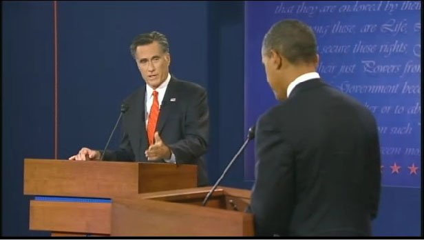 Mitt Romney and President Obama square off during their first debate in Denver.