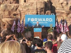 President Bill Clinton speaks at the Springs Preserve in Las Vegas. (Matt DeLucia/FOX5)