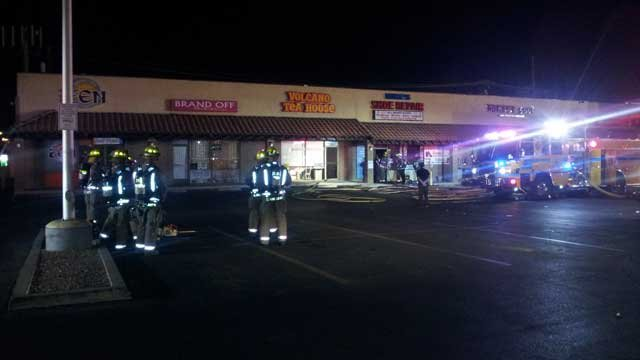 Firefighters were called to a business strip were two stores caught fire early Wednesday. (Peter Dawson/FOX5)
