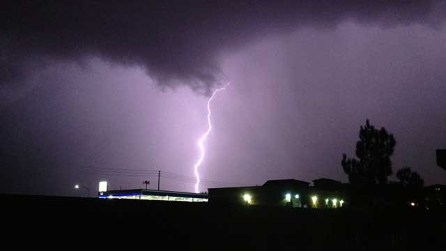 This lightning photo was captured in the area of St. Rose Parkway and Eastern Avenue on Wednesday. (Jon Jonski Grajewski)