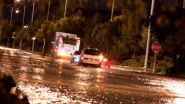 Flooded roads were a common sight for several neighborhoods on Oct. 11, 2012. (Joshua Garcia)