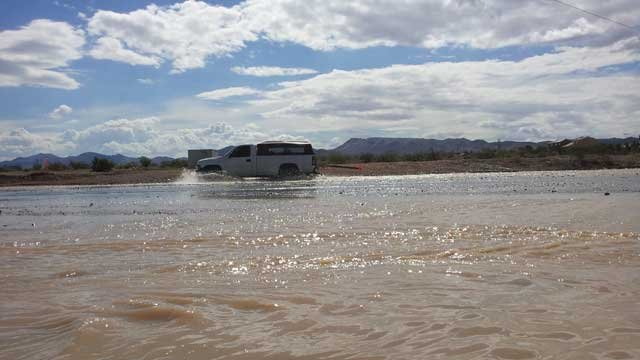 High water was still on roadways a day after a weather event in Las Vegas. (Christian Cazares/FOX5)