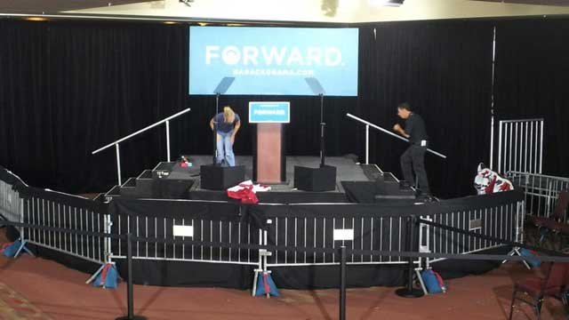 Crews prepare for VP Biden campaign event in Las Vegas (Armando Navarro/FOX5)